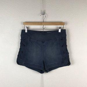 Free People l Retro Lace-up High Rise Denim Shorts
